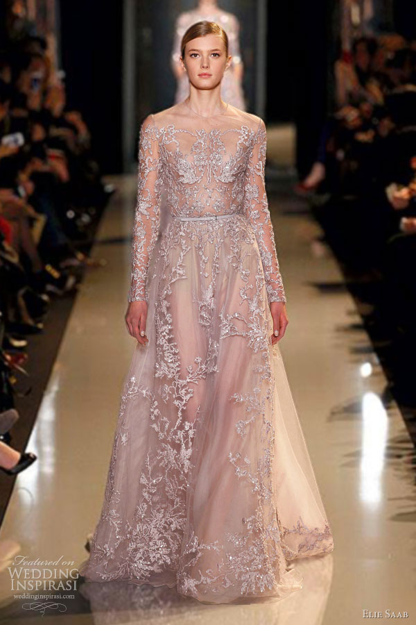 elie saab spring summer 2013 couture lilac embroidered lace guipure long sleeve dress