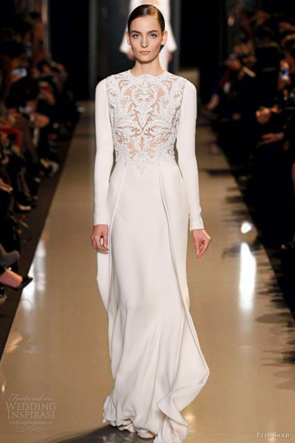 elie saab spring summer 2013 couture long sleeve white dress
