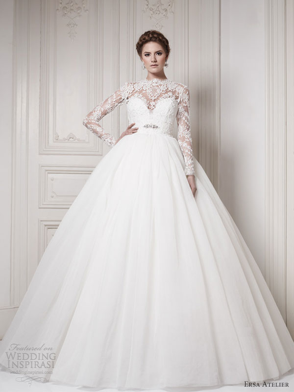 Ball gown wedding dresses with sleeves for Long sleeve ball gown wedding dress