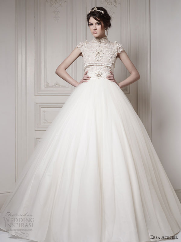 Ball Gown Wedding Dresses With Short Sleeves : Ersa atelier wedding dresses make way for the queen