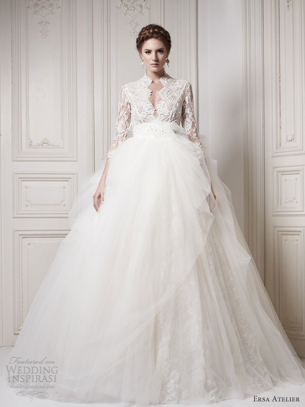 Ball Gown Wedding Dresses With Long Sleeves : Ersa atelier wedding dresses make way for the queen bridal