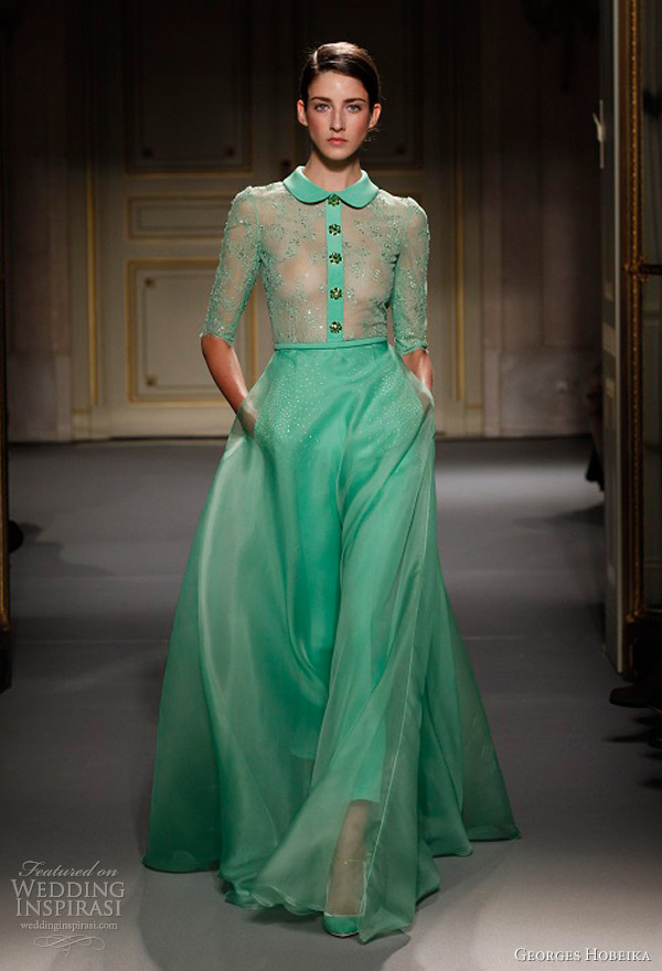 georges hobeika spring summer 2013 couture green gown