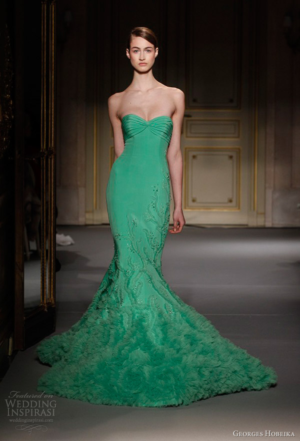 georges hobeika spring summer 2013 couture green strapless mermaid dress