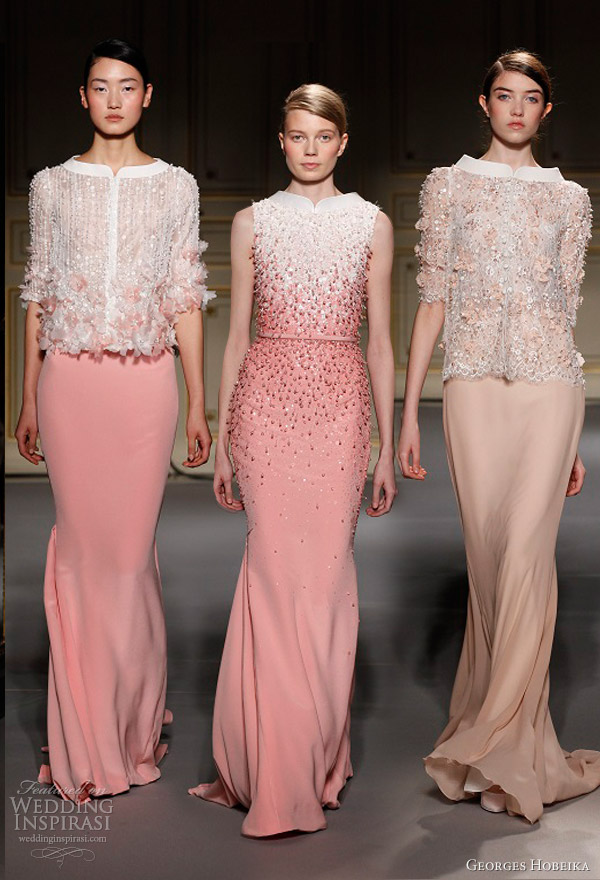 georges hobeika spring summer 2013 couture pale pink peach dresses split funnel neckline