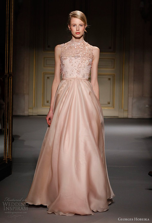 georges hobeika spring summer 2013 couture peach sleeveless dress