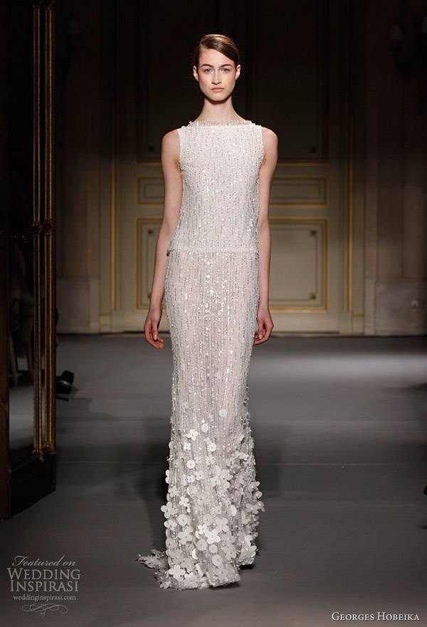 georges hobeika spring summer 2013 couture sleeveles white sequin dress