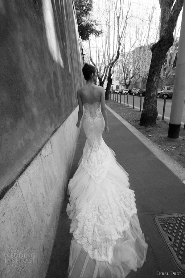 inbal dror bridal strapless mermaid gown train