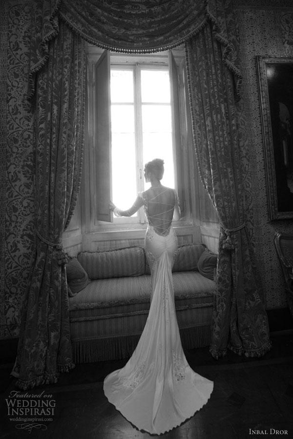 inbal dror wedding dresses long sleeves back train
