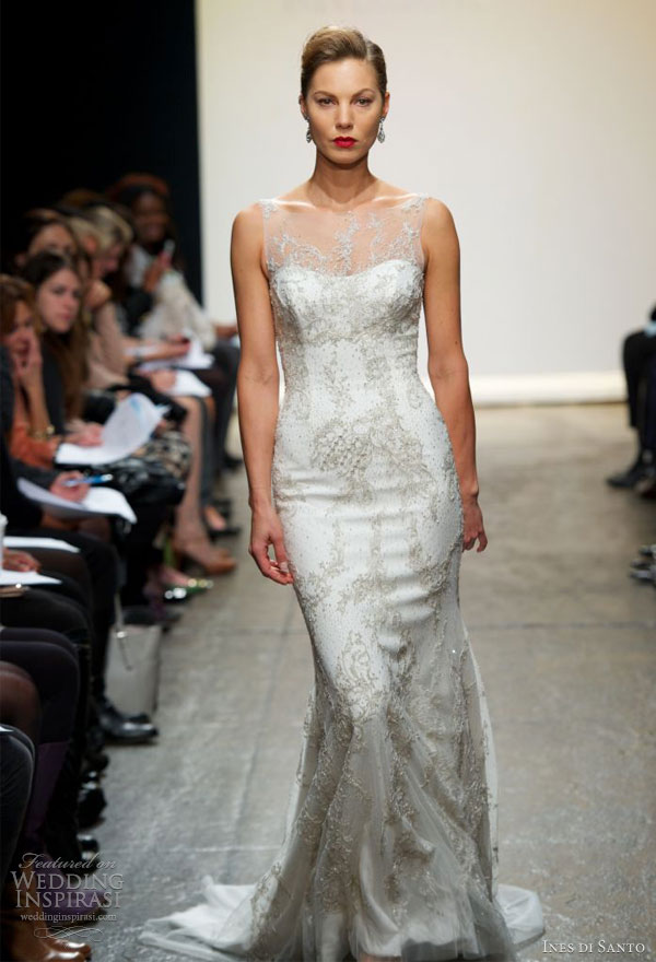 ines di santo wedding dresses spring 2013 adda beaded tulle sleeveless sheath