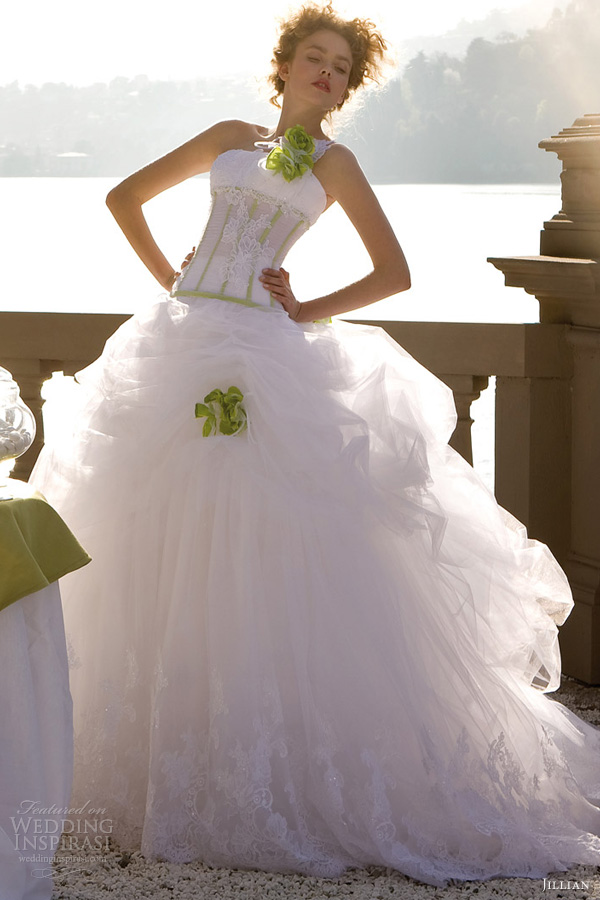 jillian bridal 2013 ball gown wedding dress green accents