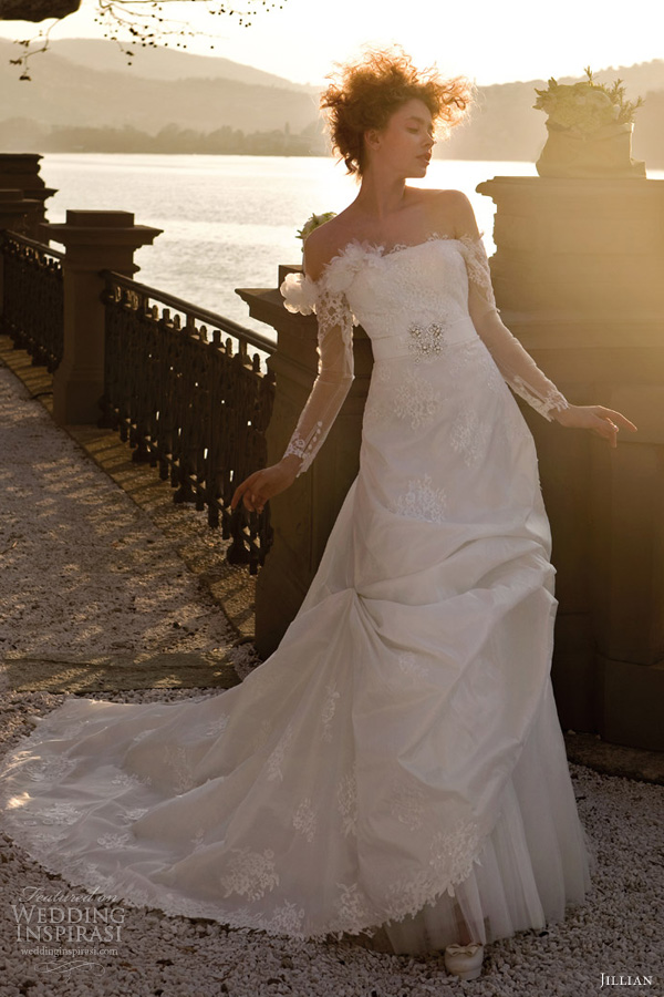 jillian bridal 2013 off shoulder lace wedding dress illusion long sleeves