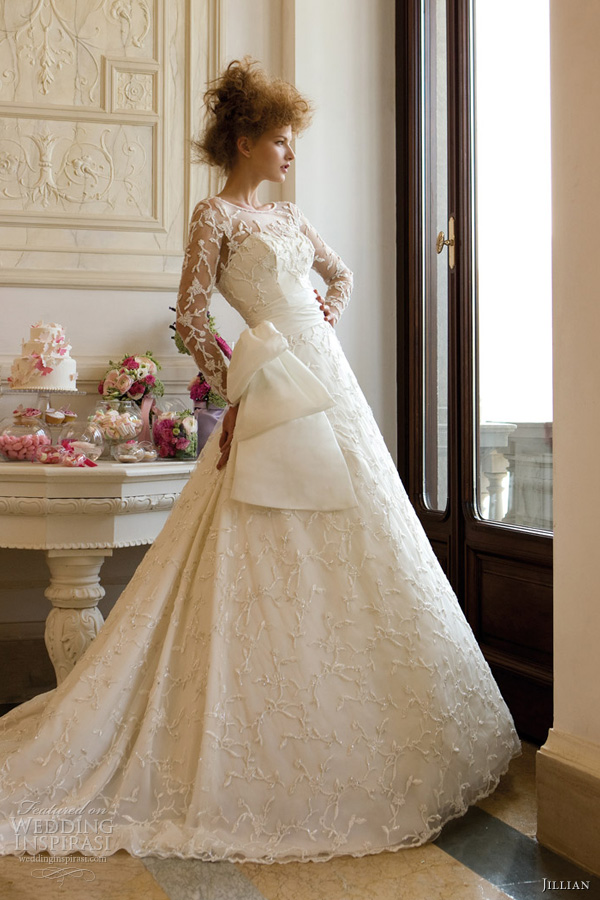 jillian sposa 2013 illusion long sleeve wedding dress