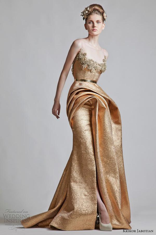 krikor jabotian 2012 2013 copper color wedding dress illusion neckline