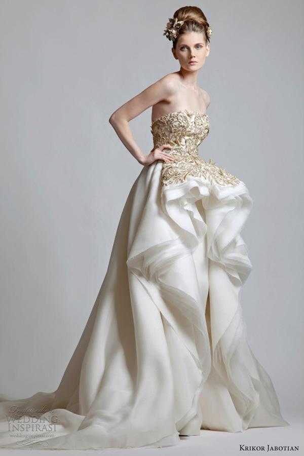 Krikor Jabotian 2013 2012 Strapless Wedding Dress Gold Lace Bodice