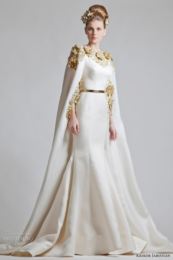 krikor jabotian 2013 cape gown wedding dress gold accents