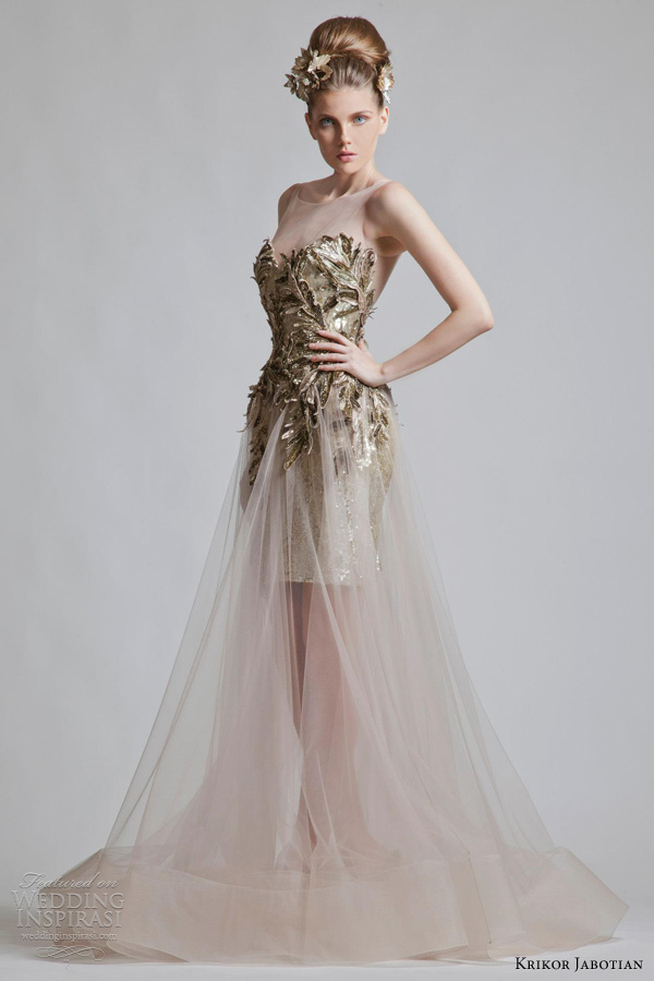 krikor jabotian bridal 2012 2013 wedding dress illusion straps