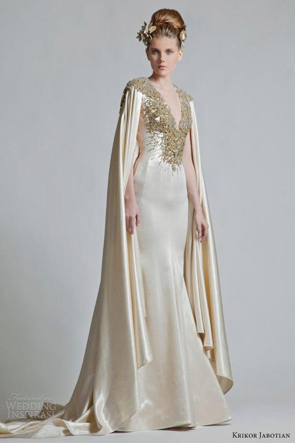 krikor jabotian wedding dresses 2013 gold cape sleeves gown