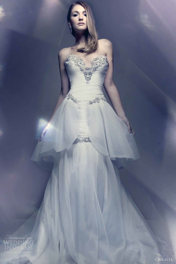 orkalia wedding dresses 2013 bridal couture strapless gown peplum