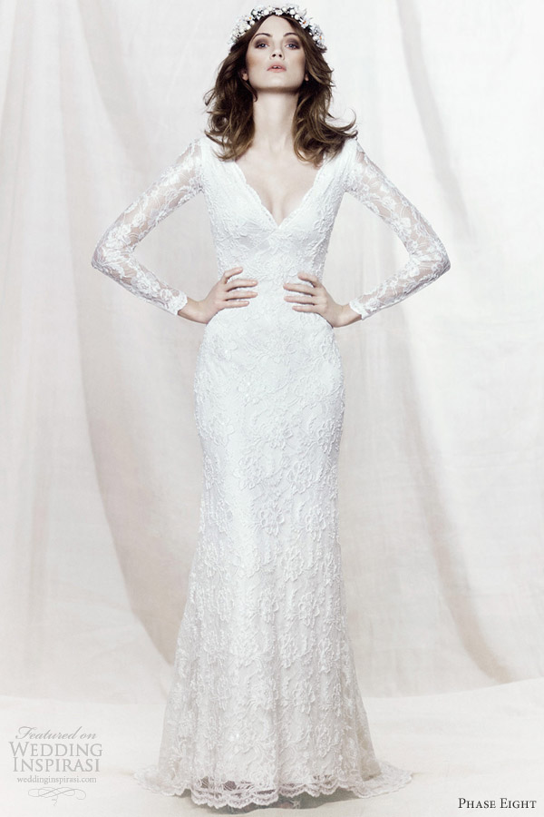 phase eight 2013 bridal evelyn long sleeve beaded lace wedding dress