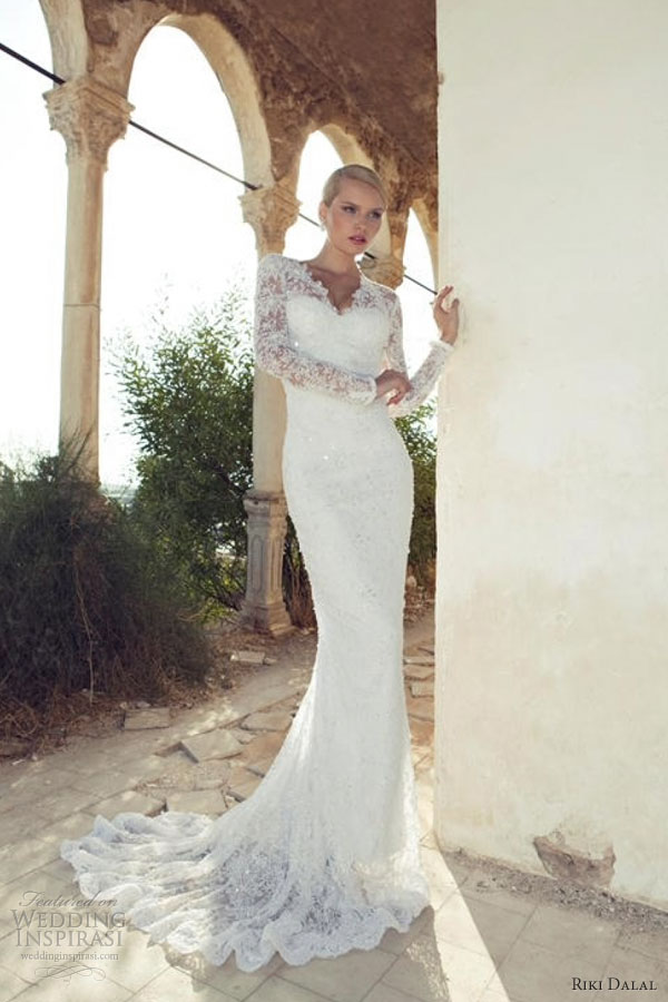riki dalal 2013 long sleeve wedding dress