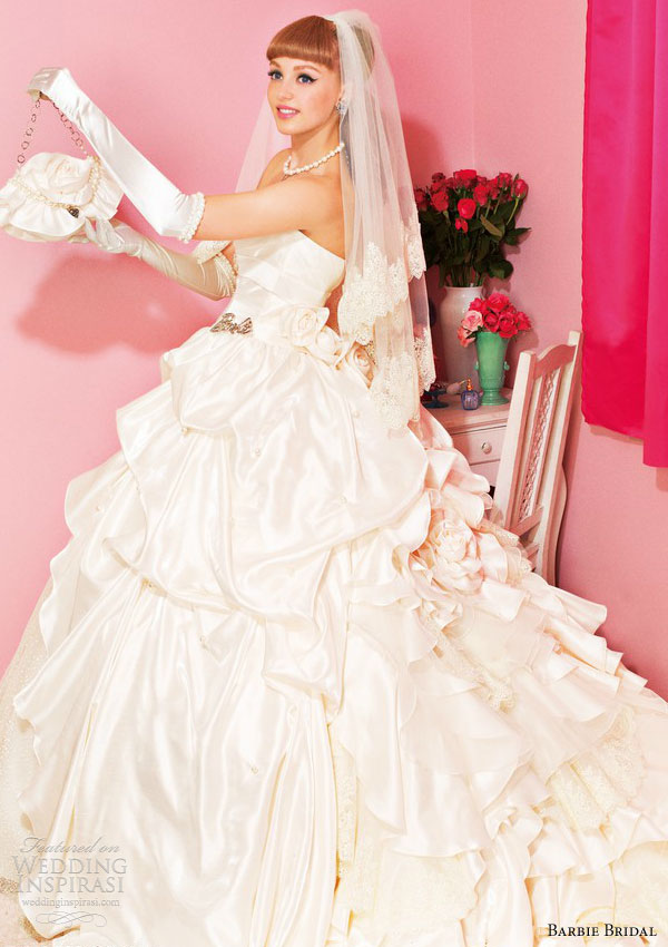 barbie bridal princess ball gown off white 0103