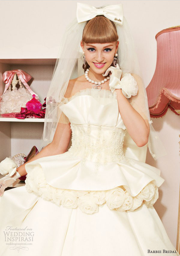 barbie wedding dress 2013 off white strapless ball gown bb0106