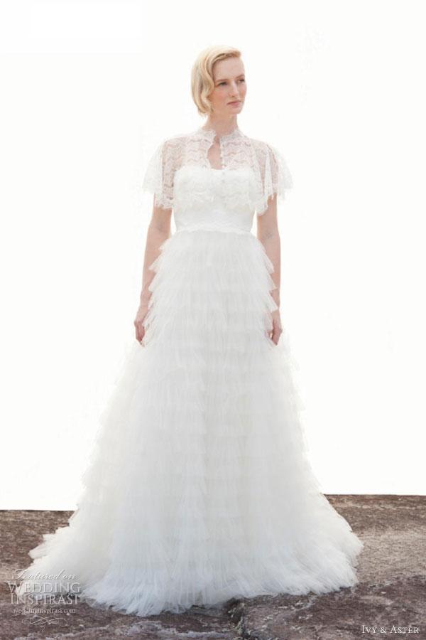 ivy aster wedding dresses fall 2013 sweet caroline with shawl