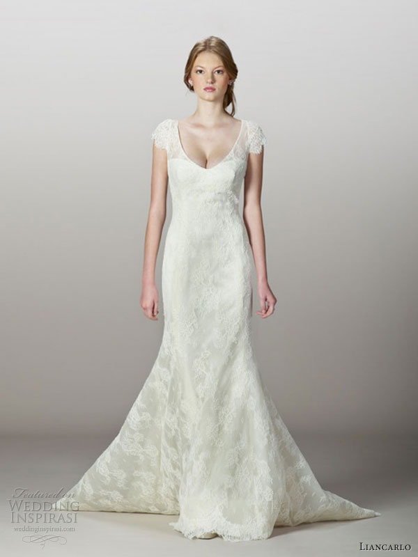 wedding dress style 5832 corded chantilly lace mermaid gown cap