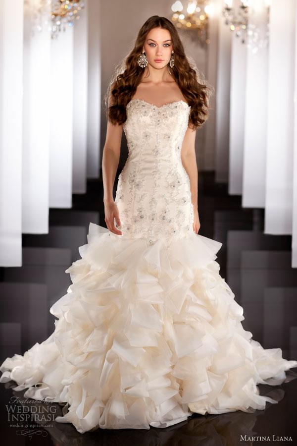 martina liana bridal fall 2013 wedding dress style 470 strapless ruffle skirt