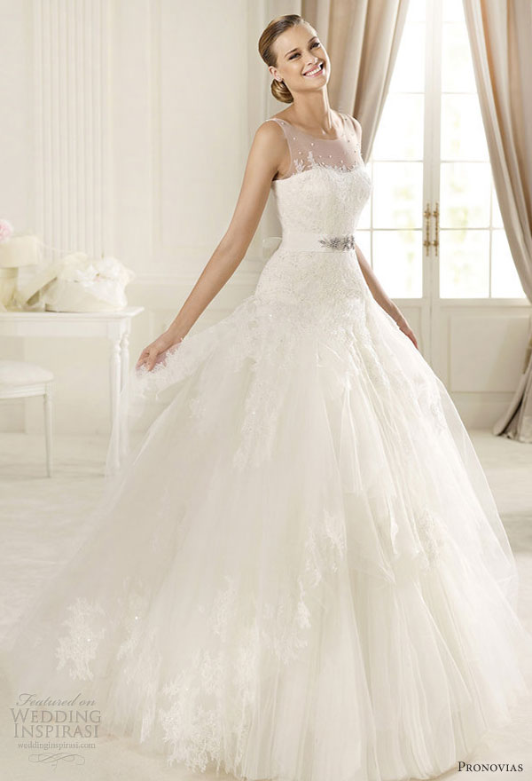 pronovias 2013 wedding dresses dominic sleeveless illusion straps