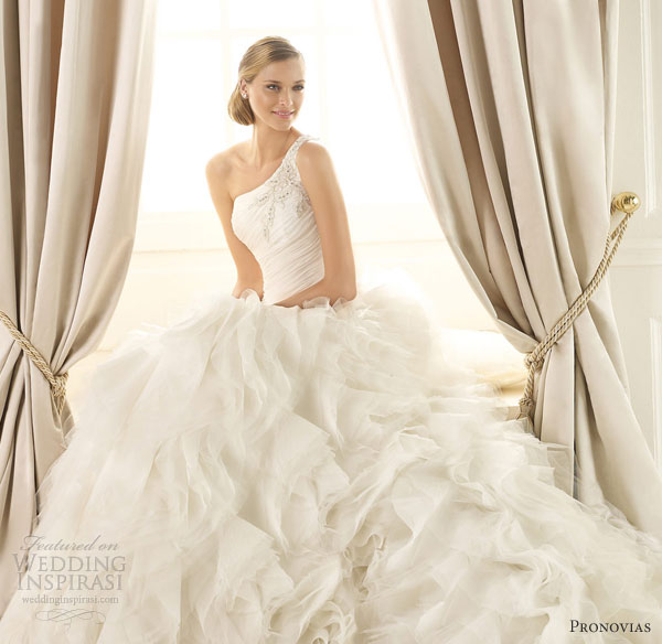 pronovias 2013 wedding dresses dora one shoulder