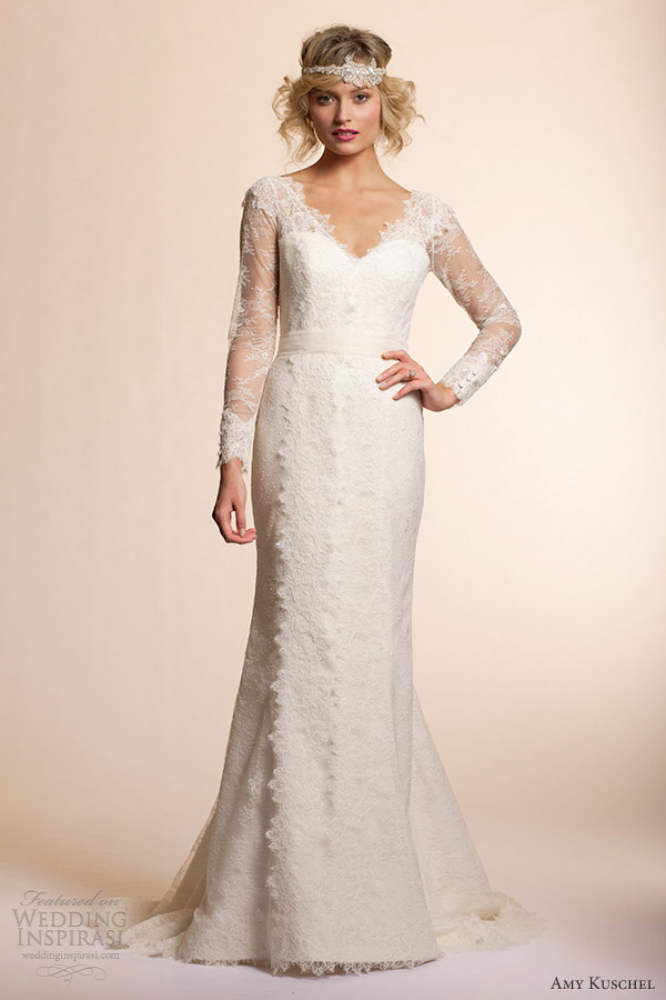 Vintage Lace Wedding Dress With Sleeves 97 Nice amy kuschel long sleeve