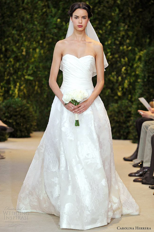 carolina herrera bridal spring 2014 abatha draped bodice sleeveless wedding dress