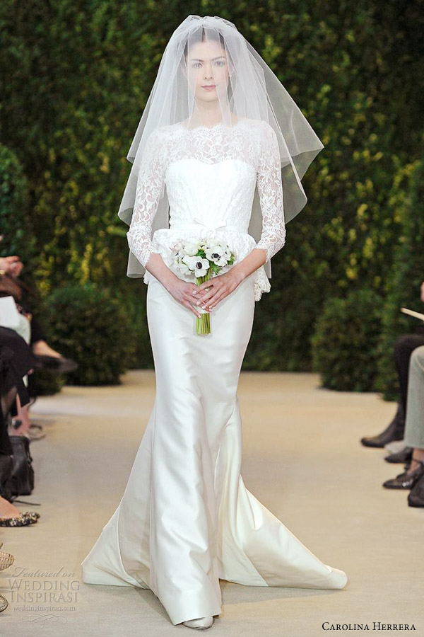 carolina herrera bridal spring 2014 alyssa three quarter sleeve trumpet gown