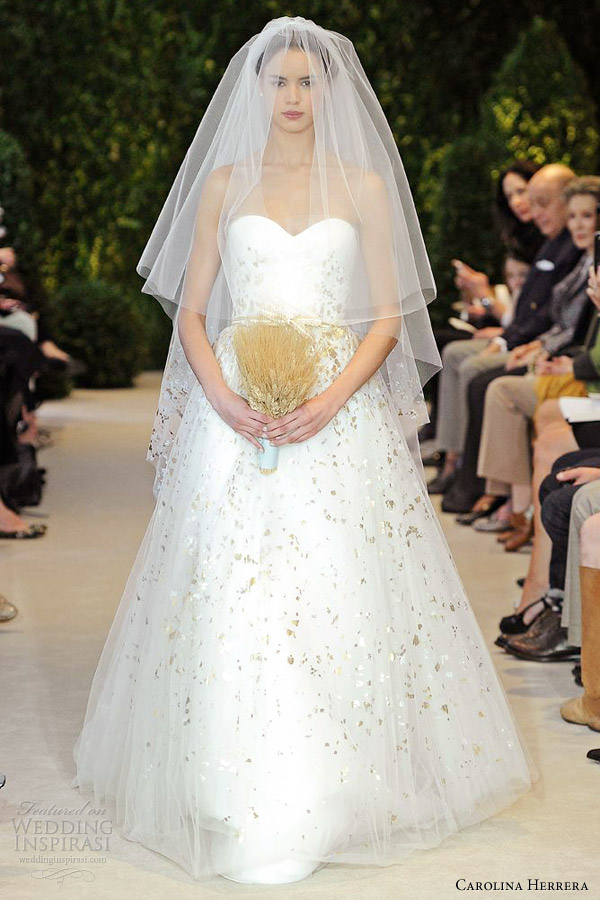 carolina herrera bridal spring 2014 aurora strapless gold speckled gown