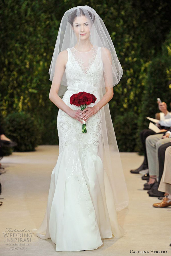 carolina herrera spring 2014 bridal aria sleeveless mermaid