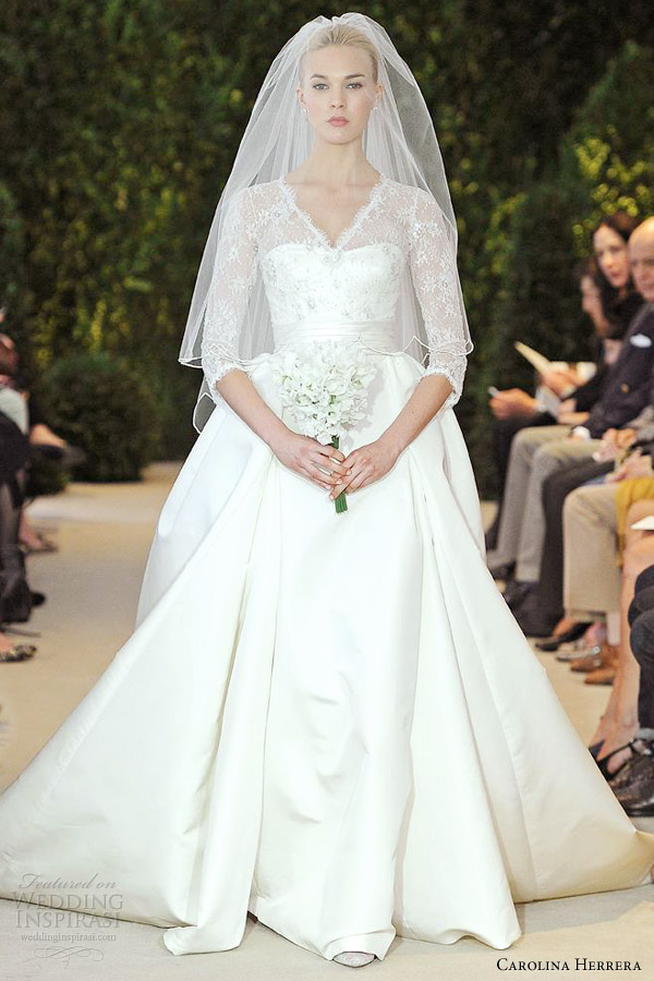 carolina herrera wedding dresses spring 2014 annemarie sleeve ball gown