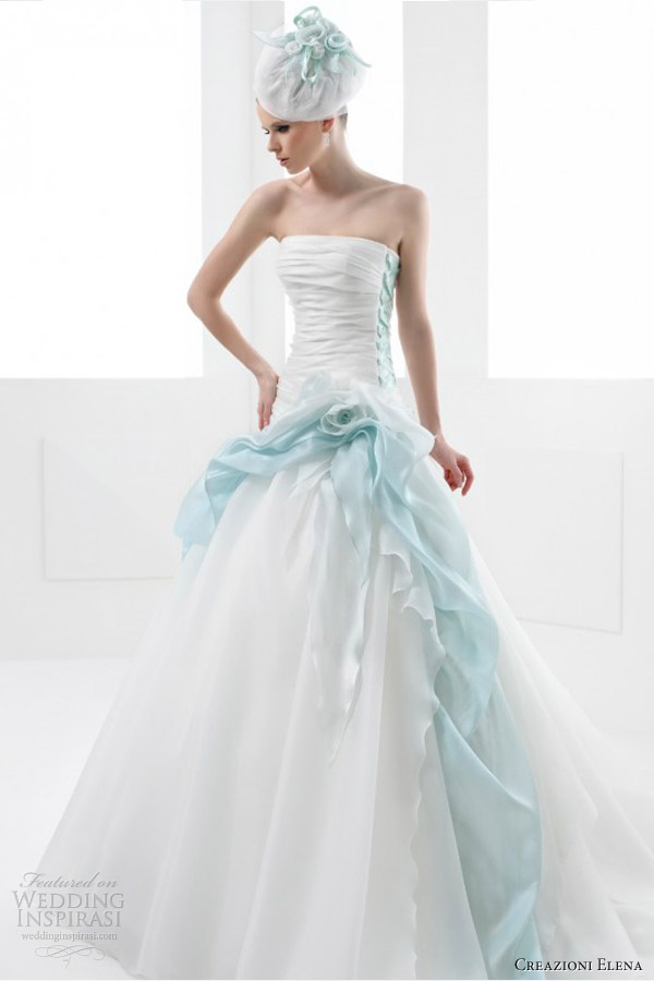 Wedding dresses with green color accents bridesmaid dresses for Wedding dress with color accent