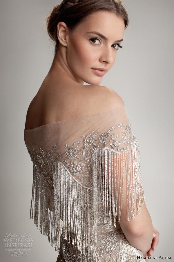 hamda al fahim fall 2012 2013 fringe cape off shoulder gown close up