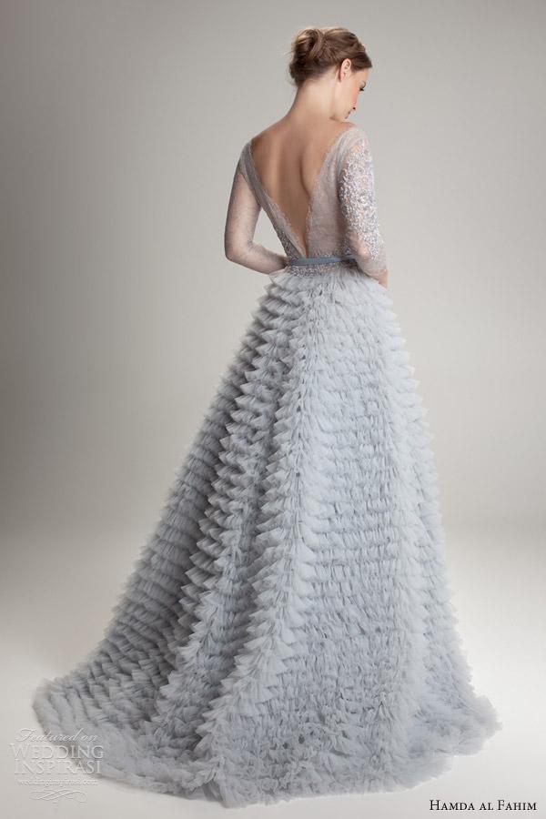 hamda al fahim fall 2012 2013 ligh blue wedding dress illusion sleeves ruffle skirt back train