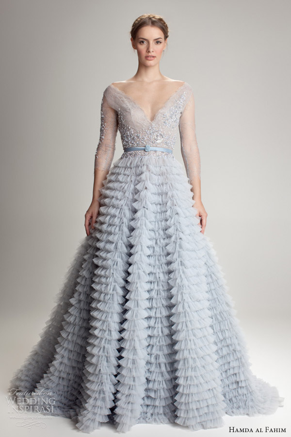 Hamda al fahim fall winter 2012 2013 collection wedding for Blue wedding dress with sleeves