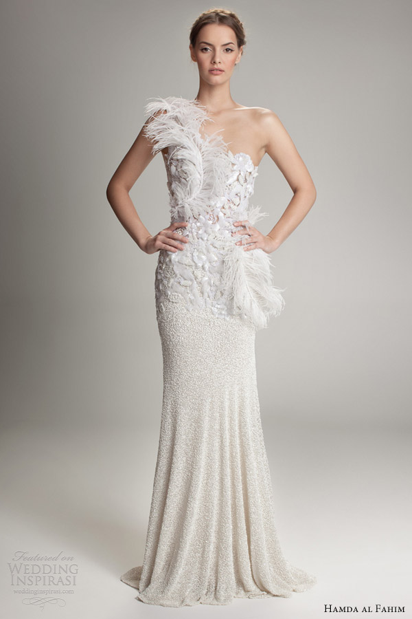 hamda al fahim fall 2012 2013 one shoulder wedding dress