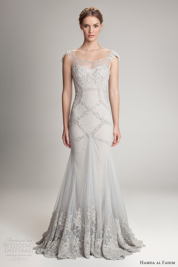 hamda al fahim fall 2012 2013 sheath cap sleeve wedding dress