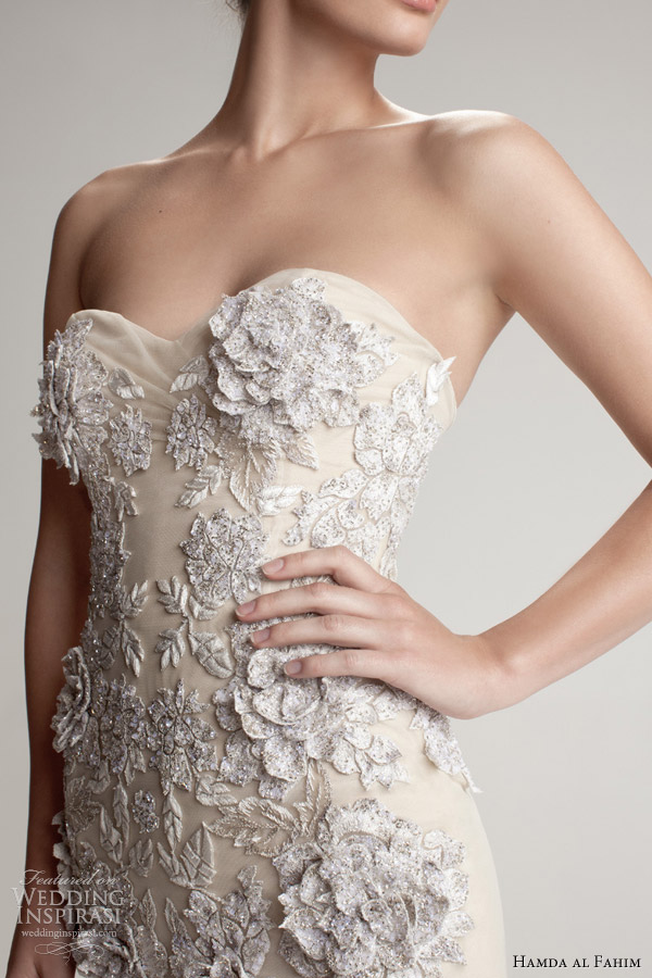 hamda al fahim fall 2012 2013 strapless gown 3d flower close up