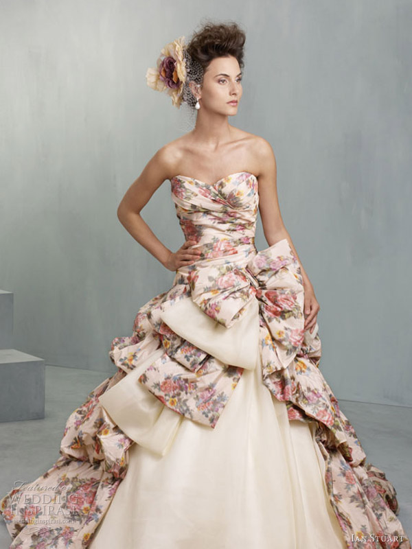 ruffled floral wedding dresses