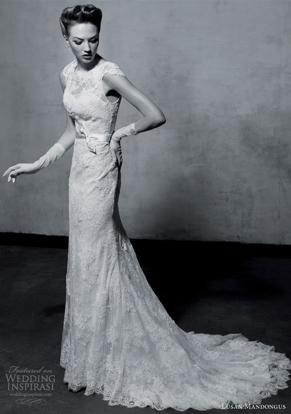 lusan mandongus bridal 2013 collection cap sleeve wedding dress