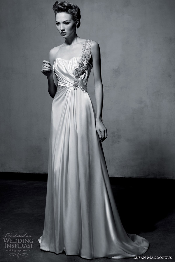 lusan mandongus bridal 2013 one shoulder wedding dress
