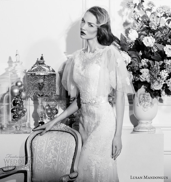 lusan mandongus wedding dresses 2013 flutter sleeves
