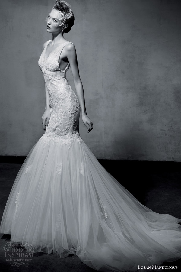 lusan mandongus wedding dresses 2013 sleeveless mermaid
