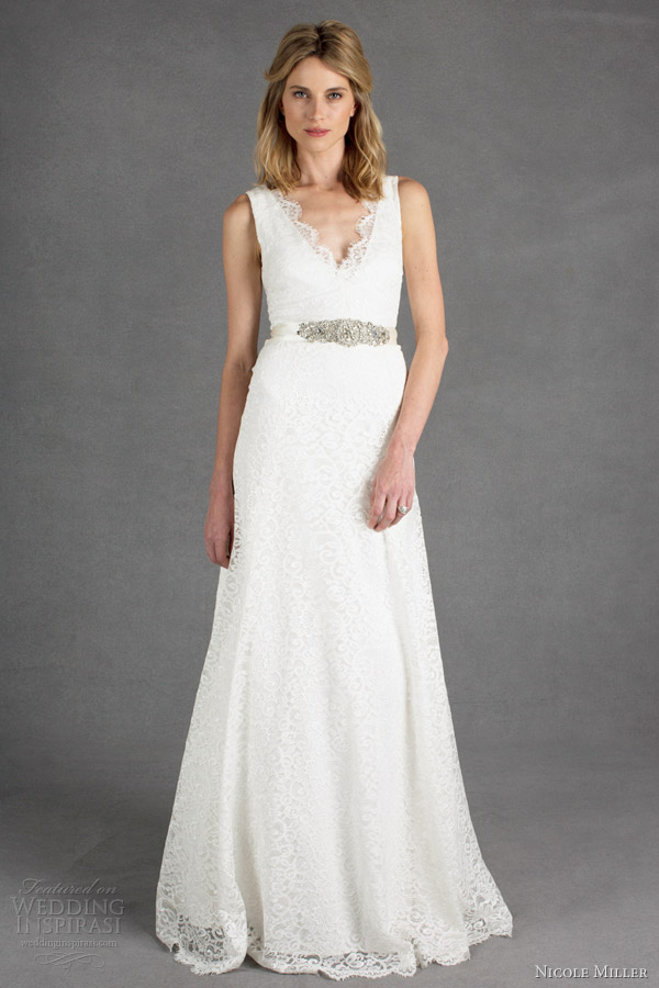 nicole miller bridal spring 2014 bianca sleevless lace wedding dress